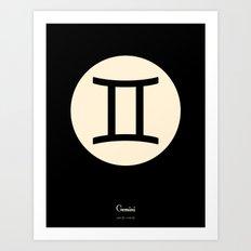 Gemini Symbol Black Art Print