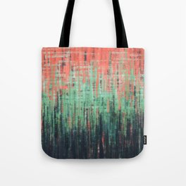 Coral Mint Navy Abstract Tote Bag
