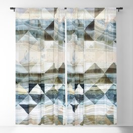 Geo Marble - Natural and Blue #buyart #marble Blackout Curtain