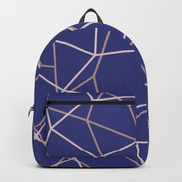 Blue Purple Geometric Architectural Pattern Backpack