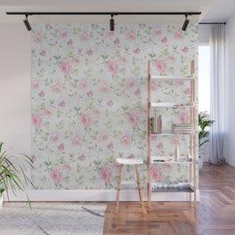 Elegant blush pink white vintage rose floral Wall Mural