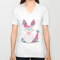 sylveon V-neck T-shirts featuring Evolution Bobbles - Sylveon by creativeesc