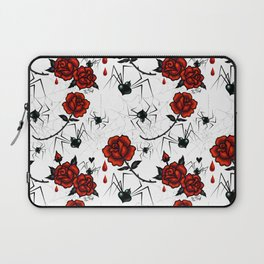 Black Widow Spider with Red Rose Laptop Sleeve