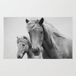 Horses - Black & White Rug