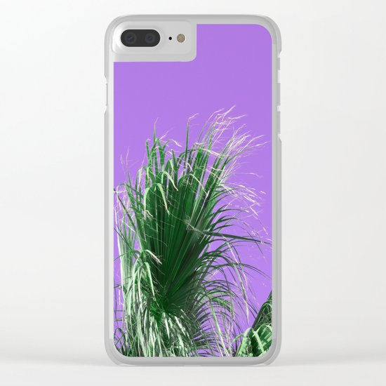 Palms on Purple Clear iPhone Case