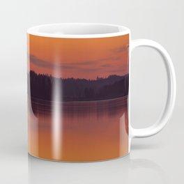 Evening Lakescape Orange Sunset Sky Reflection #decor #society6 #buyart Coffee Mug
