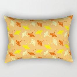Orange Auspicious Momiji Maple Leaf Japanese Kimono Pattern Rectangular Pillow