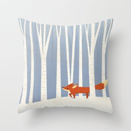 Fox in the Snow Throw Pillow