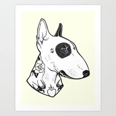 Bull Terrier dog Tattooed Art Print