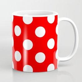 Red - White Polka Dots - Pois Pattern Coffee Mug