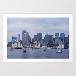 Boston Tall Ship Parade 2017 Ships in the Harbor Art Print