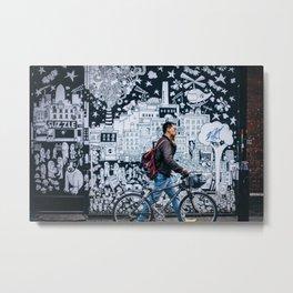 MAN - BIKE - STREET - ART - PHOTOGRAPHY Metal Print