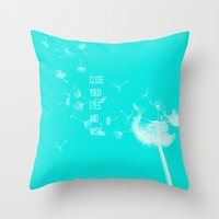 coconut wishes Throw Pillows featuring Wishes by Veronica Ventress