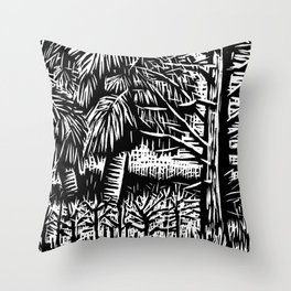 Cabbage Palm at the Oasis Throw Pillow