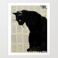 black cat Art Prints featuring CAT BLACK by LouiJoverArt