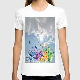 Butterflies in blue sky T-shirt
