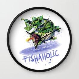 Fishaholic Abstract Bass Fishing Wall Clock