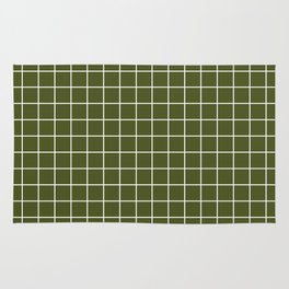 Army green - green color -  White Lines Grid Pattern Rug