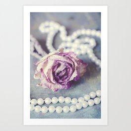 Pearls and Rose Art Print
