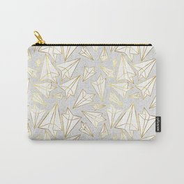 Paper Airplanes Faux Gold on Grey Carry-All Pouch