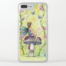 A Happy Place Flower Fairy Fantasy Art by Molly Harrison Clear iPhone Case