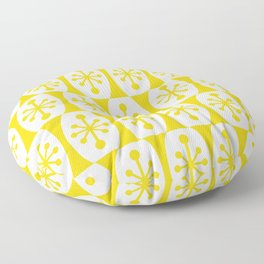 Mid Century Modern Atomic Fusion Pattern Yellow Floor Pillow