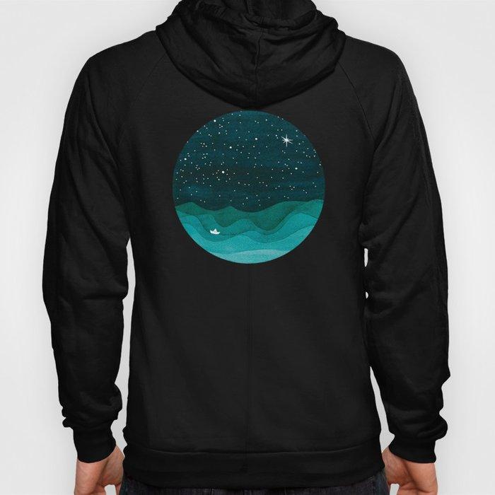 Starry Ocean, teal sailboat watercolor sea waves night Hoody