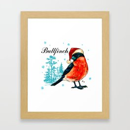Funny bullfinch in a red cap Framed Art Print