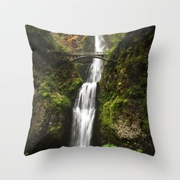 Multnomah Falls, located in the Columbia River Gorge - Color Photo Throw Pillow