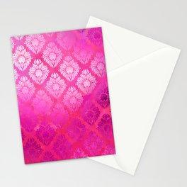 """Magenta Pink Damask Pattern"" Stationery Cards"