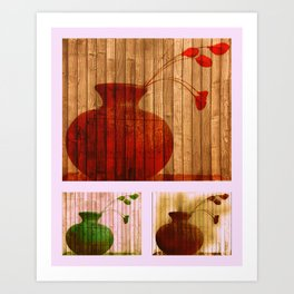 Vase Collage (warm, aged look) Art Print