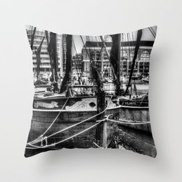 Thames Sailing Barges Throw Pillow