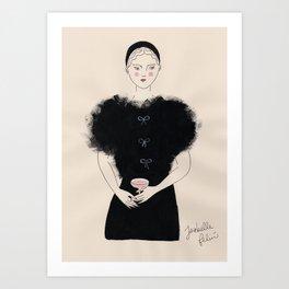 A Fluffy Black Dress Art Print
