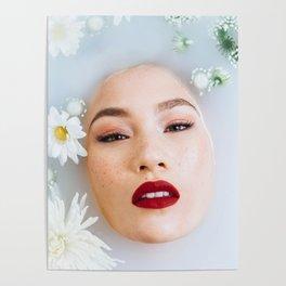 Asian Woman in Milk Bath Poster