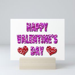 Happy Valentine's Day Metal Pink and Red Letters Mini Art Print
