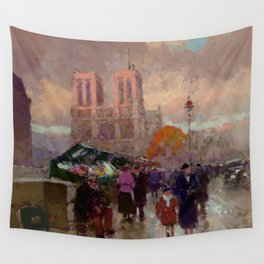 Notre Dame Cathedral, the Effect of Sunlight, Flower Market, Paris, France by Edouard Cortes Wall Tapestry