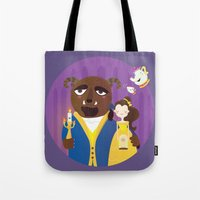 beauty and the beast Tote Bags featuring Beauty and beast by Maria Jose Da Luz