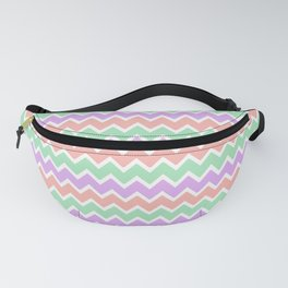 Coral Lavender and Mint Green Chevron Fanny Pack