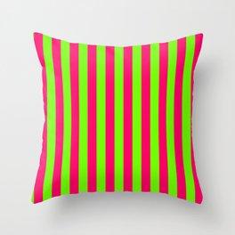 Super Bright Neon Pink and Green Vertical Beach Hut Stripes Throw Pillow