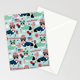 Tri Corgi Fourth of July American Independence Day July 4th Patriotic Corgis Stationery Cards
