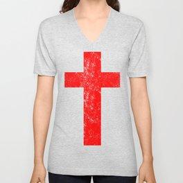 Cross (distressed red)  Unisex V-Neck