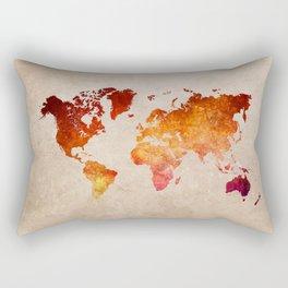 red world map watercolor art Rectangular Pillow