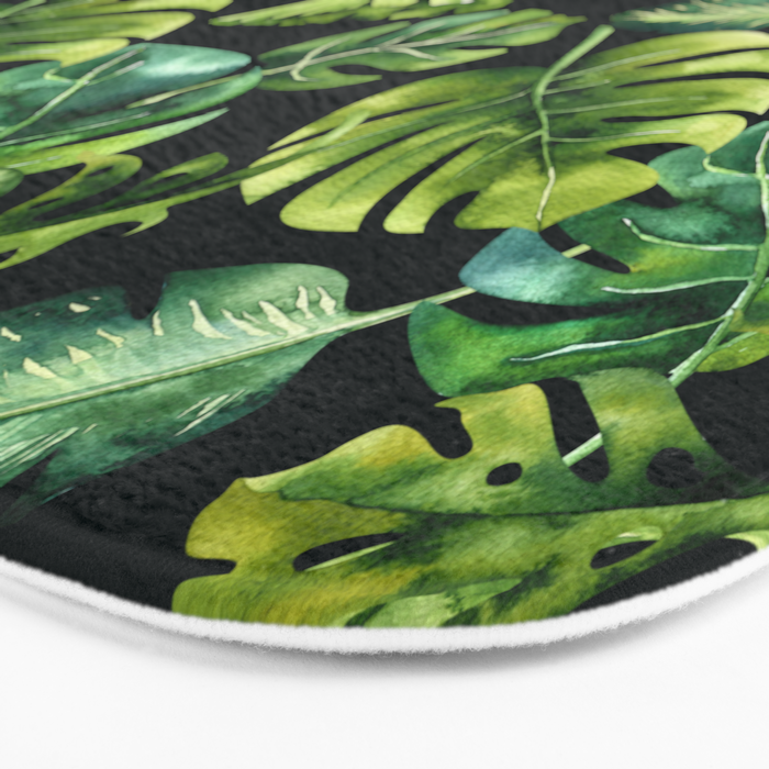 Watercolor Botanical Tropical Palm Leaves on Solid Black Background Bath Mat