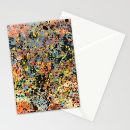 Happy abstract paint splatters Stationery Cards