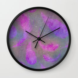 pink watercolor feather pattern Wall Clock