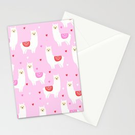 Valentines Llama - pink llama, alpaca, heart, hearts, love, cute, valentines day Stationery Cards