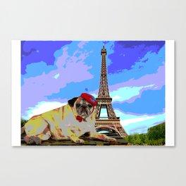 A Pug in Paris Canvas Print