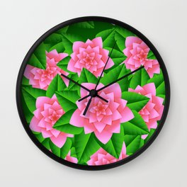 Ice Pink Camellias and Green Leaves Wall Clock