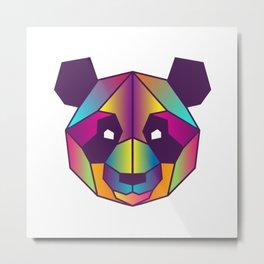 Panda | Geometric Colorful Low Poly Animal Set Metal Print