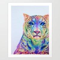 snow leopard Art Prints featuring Snow Leopard by Disha Trivedi